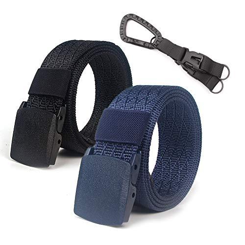 Lalacolorful 2 Pack Cinturón de Nylon Cinturón de Cinturón Táctico para Hombre Cinturón de Cinturón de Cinturón de Cinturón de Correa Militar al Aire Libre con Hebilla de Metal (Negro + Azul)