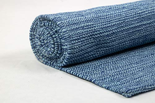 Live Well 360 Handmade Organic Cotton Yoga Mat Natural Yoga Mat - Exercise, Workout, & Fitness Rug Made of 100% Cotton - Woven Material - Hand-Crafted, Absorbent & Washable - 78' x 27' (Blue)