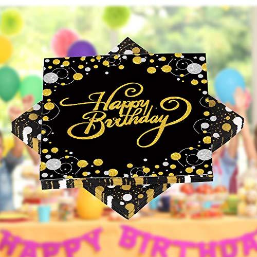 HENGBIRD 32 Stück Servietten Happy Birthday Serviette, Hochwertige Papierservietten für Geburtstag Party Deko Supplies Mundabwischtuch Geburtstag ideal geeignet , Haushalt oder Feste schwarz 33x33cm
