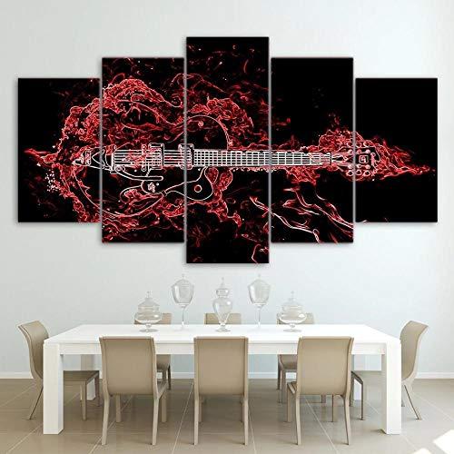 AWER Cuadro en Lienzo 5 Pieza impresión Lienzo artística Pintura Diseño Cuadro Moderno Pared gráfica Musica de guitarra roja abstracta arte de pared para el hogar decoración Enmarcado