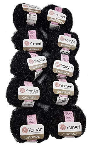 10 x 50 Gramm YarnArt Christmas Schwammgarn, Strickgarn mit Glitzer und Fransen, 500 Gramm Effektgarn Effektwolle (schwarz 01-056)