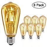 LED E27 Leuchtmittel Vintage Glühbirne - Edison Glühbirne 4W warmweiß, 2700K, 320LM, Glühbirne retro für Zimmer Café Bar Restaurant, 6er Set [Energieklasse A+]