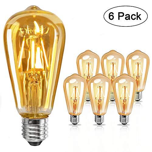 E27 LED vintage glühbirne 4W - Edison Glühbirne E27, Leuchtmittel E27 warmweiß, Retro glühbirne für Zimmer Café Bar Restaurant, 6er Set [Energieklasse A+]