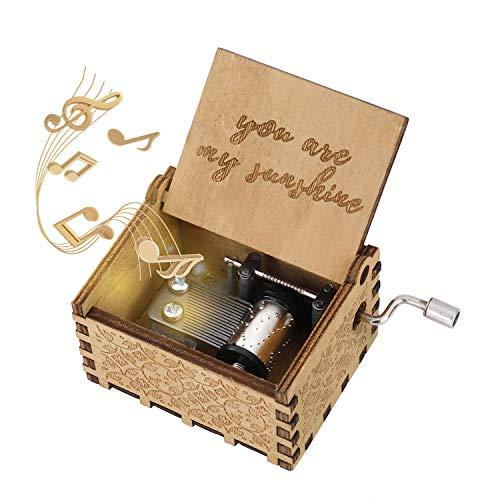 Hölzerne Spieluhr You Are My Sunshine Handkurbel Spieluhren Antike Geschnitzte Musik Box Holz für Geburtstags Valentinstag Weihnachten Geschenk