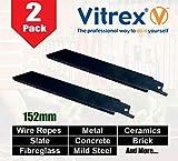 2 x Vitrex 152mm Tungsten Carbide Grit Universal Recipro Saw Blade for Cutting Brick, Metal, Slate, Concrete