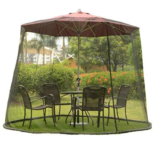 GANG Patio Paraguas Mosquito - Jardín Al Aire Libre Parasol Mosquitera Net Cover - Diseño de Cremallera - Poliéster - Puerta Individual, Negro (9 / 10Ft) Portátil