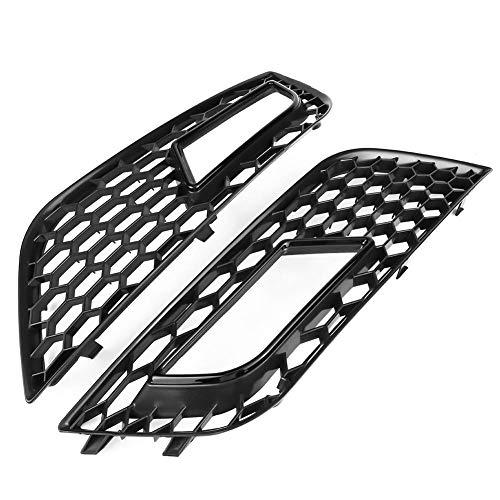 Auto Grill Kühlergrill, 2 Stücke ABS Kühler Frontstoßstange Nebelscheinwerfer Grill Für RS4 Style Glossy Black Stoßfänger Gitter Wabengrill für A4 B8.5 2013-2016