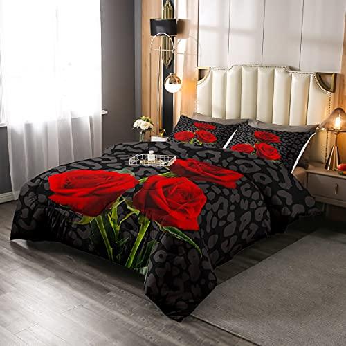 Juego de edredón con estampado de leopardo, individual, diseño de flores de rosas y flores, para niños, adolescentes, adultos, niñas, dormitorio, ropa de cama, edredón acolchado, color negro y gris