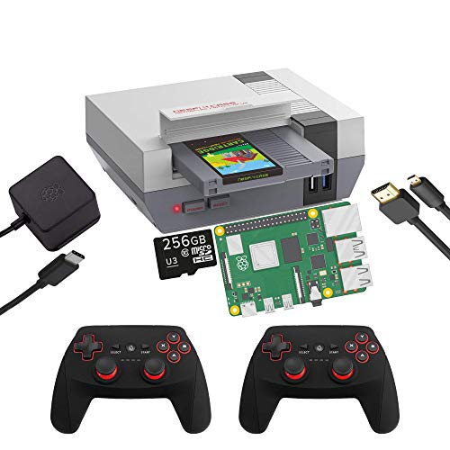 RETROFLAG NESPi 4 DIY Starter Kit Retro-Spielkonsole; Raspberry Pi 4, RetroPie System, 256 GB MicroSD-Karte, 2,5-Zoll-SSD unterstützt; USB 3.0; Wi-Fi/Ethernet-fähig [NESPI-4-DIY-2X-R1]