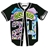 HOP FASHION Womens Boys Girls Bel Air 80s 90s Theme #24 Print Baseball Jersey Short Sleeve T-Shirts Button Down Tops for Birthday Party Dance Team Uniform HOPM007-37-M