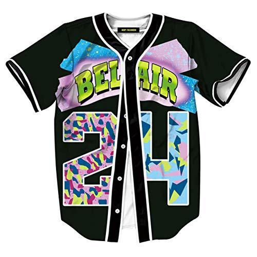 HOP FASHION Womens Boys Girls Bel Air 80s 90s Theme #24 Print Baseball Jersey Short Sleeve T-Shirts Button Down Tops for Birthday Party Dance Team Uniform HOPM007-37-S