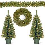 National Tree Company Pre-lit Holiday Christmas 4-Piece Set   Garland, Wreath and Set of 2 Entrance Trees with White LED Lights