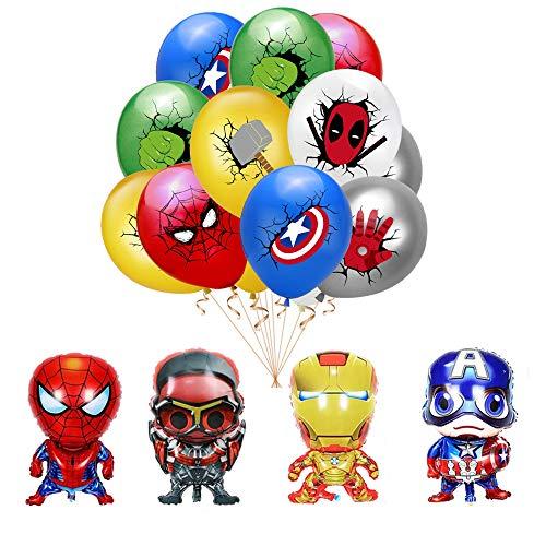 Decoracion Cumpleaños Superheroes Globos de Látex de Superhéroes Globos de Aluminio de Los Avengadores Grandes Kit de Decoraciones de Cumpleaños de Superhéroes