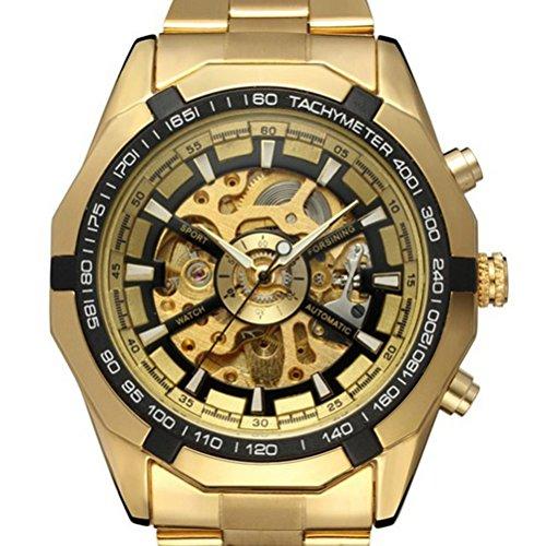 PIXNOR Hombre Relojes de Pulsera Mecánico Automático con Pulsera de Acero Inoxidable