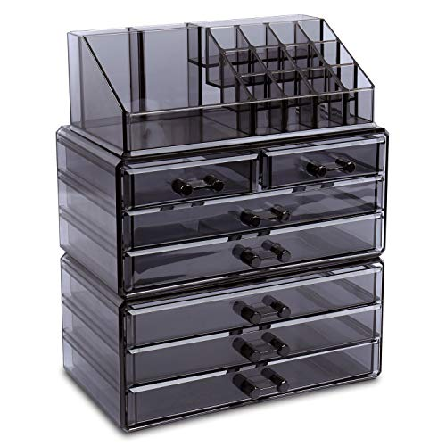 """Ikee Design Cosmetics Makeup and Jewelry Storage Case Display, Stylish Bathroom Case Great for Lipstick, Nail Polish, Brushes, Jewelry and More, Overall: 9 1/4""""W x 5 3/8""""D x 11 5/8""""H, Gray"""