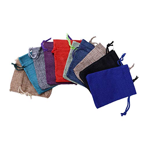 Cobeky 100 bolsas de yute de tela de jardín con cordón para regalo, bolsillo, reutilizable para decoración del hogar