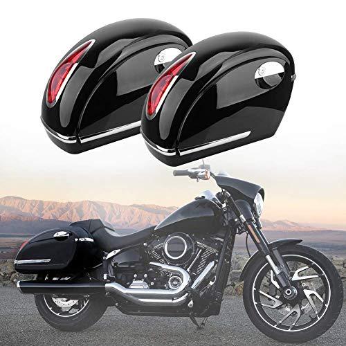 2Pcs Motorcycles Universal Black Hard Trunk Saddlebags, Luggage w/Lights Waterproof Heavy Saddle Bags fit for Harley, Honda, Suzuki, Kawasaki, Yamaha, Victory