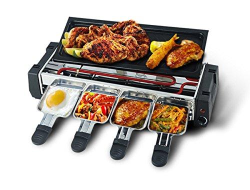 NANXCYR 2-in-1 elektrische grill, rookvrij, grill, huishoudlat, 3 personen, grill, binnengrill, met anti-aanbaklaag, tapanyaki-verwarmingsplaat en kaasplaat