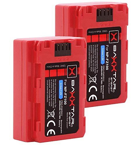 2X Baxxtar Pro III - Compatible avec Batterie Sony NP-FZ100 - Sony Alpha ILCE 6600 Alpha 7 III Alpha 7R III Alpha 9 9R 9S Alpha 9 II
