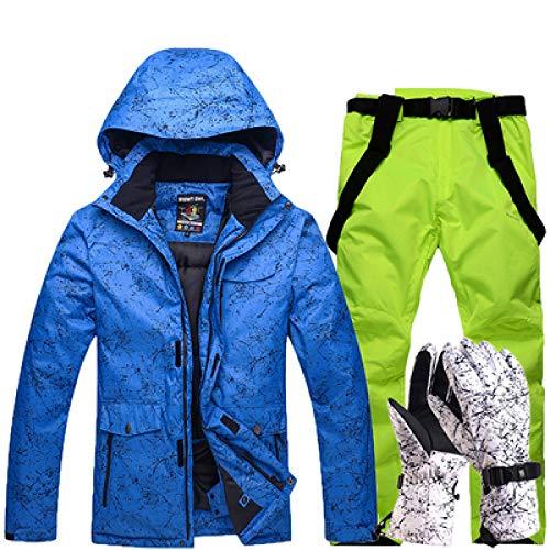 YHWW Combinaison de Ski Nouveau Épaissir Chaud Ski Suit Hommes Femmes Hiver Coupe-Vent Étanche Ski Gants Snowboard Veste Pantalon Costume Mâle Plus La Taille 3XL, Couleur 16, M