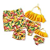 IFFEI Family Matching Swimwear Two Pieces Bikini Set Newest Printed Ruffles Mommy and Me Bathing Suits Men: XL