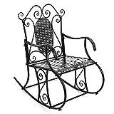SONGMICS Feuteuil Chaise à Bascule en Fer pour Balcon Jardin Salle GRC101B