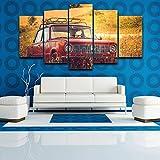 LZLZ 5 lienzos Pintura de Lienzo decoración del hogar 5 Piezas Vehículo Todoterreno Rojo imágenes de automóviles Antiguos póster Impreso Moderno para Sala de Estar Arte de Pared