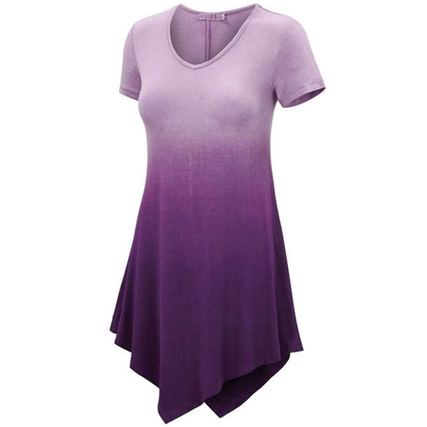 Tantisy ??? Women's Plus Size Irregular Dress Fashion Gradient Short Sleeve Casual Dress