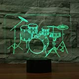 DFDLNL Juego de batería 3D Luz Nocturna Mesa táctil Escritorio Lámparas de ilusión óptica 7 Luces cambiantes de Color Decoración del hogar Regalo de cumpleaños de Navidad