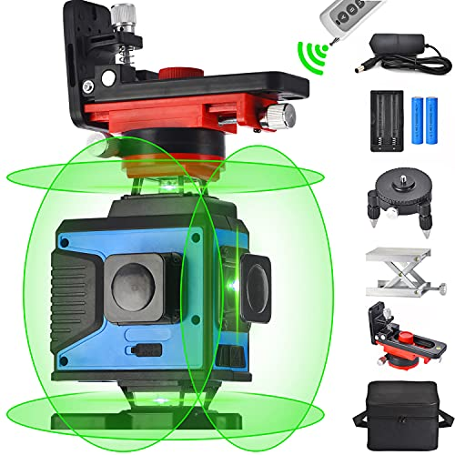 Nivelación láser de líneas cruzadas 4X360, control remoto 4D 16 líneas Rayo verde Láseres de cuatro planos 2x360 ° Vertical 2x360 ° Línea horizontal, autonivelación automática