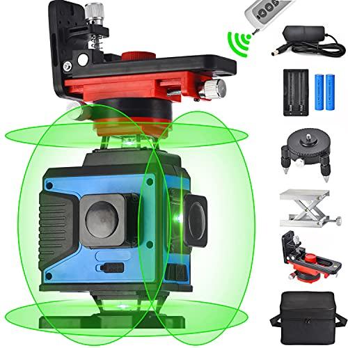 Nivelación láser de líneas cruzadas 4X360, control remoto 4D 16 líneas Rayo verde...