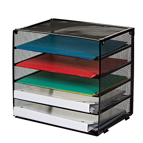 Paper Organizer – Desk File Sorter – 5 Tier Letter Tray for Office – Large Mesh Metal Tray for Paperwork and Files – Stackable Trays and Sorter with Retractable Tiers – Heavy Duty Metal Construction