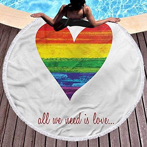 Toalla de Playa Redonda Gruesa Manta Toalla de Playa Pride Girls Necesitamos meditación de Amor Gay, Descansar Junto a la Piscina Redondo de 59 Pulgadas