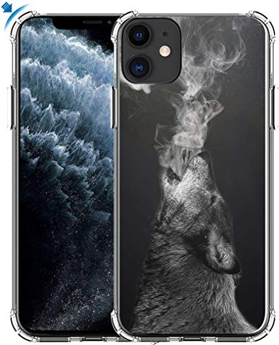 Case for iPhone 11 Wolf & MUQR Gel Silicone Slim Drop Proof Heavy Duty Protection Cover Compatible for iPhone 11 & Cool Wolf Animal