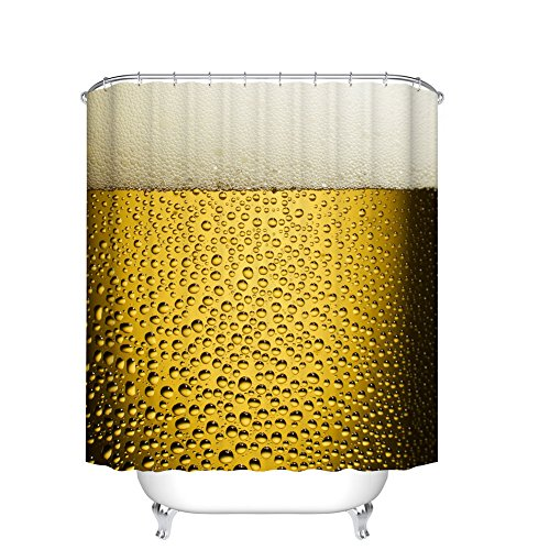 Fangkun Fashion Shower Curtain Beer Cup Art with Bubbles and Droplets Print - Cool Beer with Water Drops Design - Polyester Fabric Bathroom Decor Curtains with 12PCS Hooks