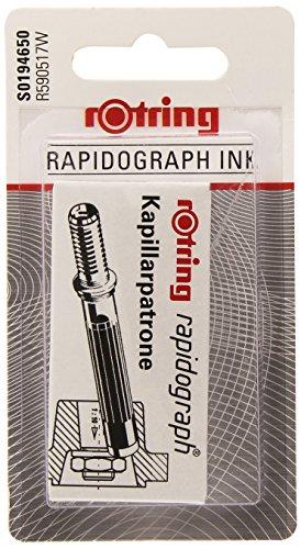 Rotring Rapidograph S0194650 cartuchos cortos, negro, en blíster Aptos para papel de calco, papel vitela, papel de dibujo y papel liner Buena adhesión No produce borrones una vez seca No es apto para realizar tatuajes