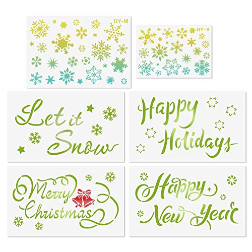 Christmas Snowflake Stencils for Painting on Wood - 6 Packs Resuable Stencils Happy New Year Merry Christmas Happy Holiday Let it Snow Pattern Template for Windows Door Card Making DIY Art Decor
