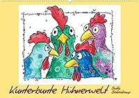 Kunterbunte Huehnerwelt (Wandkalender 2022 DIN A2 quer): farbenfrohe und fantasievolle Zeichnungen fuer Jung und Alt (Monatskalender, 14 Seiten )