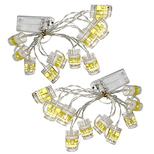 Amusingtao Luces LED de cerveza 3D, funciona con pilas, 10 luces LED para dormitorio, bar, fiesta, Navidad, boda, dormitorio o apartamento decoración (2 unidades)