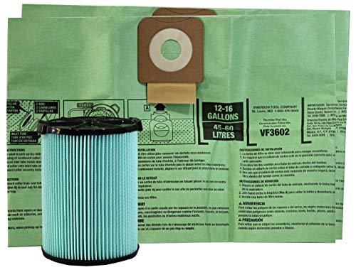 OSHA Kit compatible con (1) filtro HEPA-Media y (2) bolsas de polvo pre-separadoras ciclónicas para aspiradora húmeda/seca RIDGID seleccionada