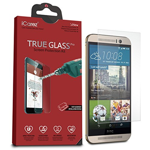 iCarez Tempered Glass Screen Protector for One M9 (1-Pack 9H 0.33MM HD) - Retail Packaging