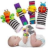 Juego de 4 calcetines suaves para bebé con sonajeros y buscadores de pies para...