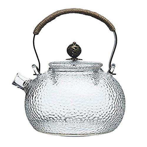 LKITYGF Novela Tetera de té Tetera de té 700ml Tetera de Tetera fría Hermano Hermosa Resistente al Calor Manija de Cobre Transparente Pote de Haz Se Puede Calentar el hervidor