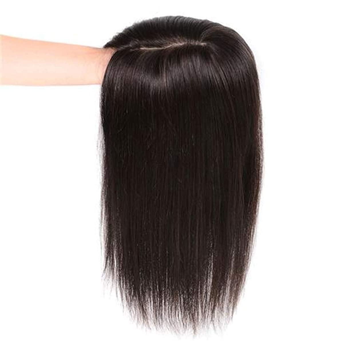 頭守銭奴ネストBOBIDYEE 女性のロングストレートヘアクリップリアルヘアエクステンションヘアピース14×14ハンドニードルナチュラルかつら複合ヘアレースかつらロールプレイングウィッグロングとショート女性自然 (色 : Dark brown, サイズ : 35cm)