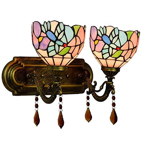 HYWFX Lámpara De Pared Creativa Estilo Tiffany, Lámpara De Pared Decorativa con Pantalla De Cristal De Colores De Colibrí De 6'para Escalera, Dormitorio, Pasillo