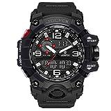Herren Digitale Uhren, Sport Schwarz Armbanduhr mit Digital und Analog 50M wasserdichte Stoppuhr mit Wecker, Laufen große Anzeige LED Digitaluhren für Herren