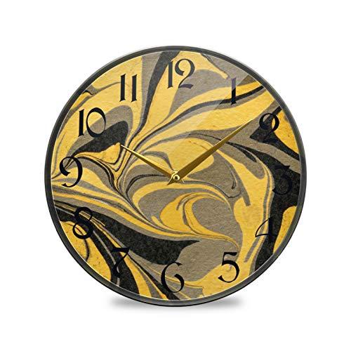 ART VVIES Reloj de Pared Redondo de 9,5 Pulgadas Que no Hace tictac silencioso Funciona con Pilas Oficina Cocina Dormitorio decoración del hogar-mármol Dorado