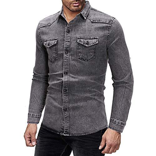 Camisas de Mezclilla para Hombre Tendencia Solapa Simplicidad Moda Lavada Retro Costura Slim Fit Camisas de Manga Larga de Gran tamaño XL