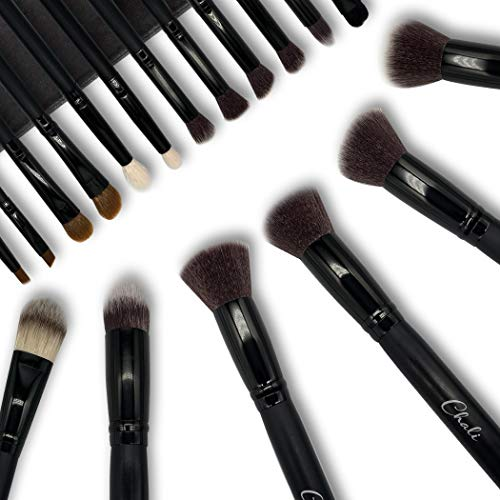 Chali® Make-up Pinsel Set 18 tlg. mit Tasche, Kosmetik Schminkpinsel für Foundation, Lidschatten, Puder, Blender, Concealer, Augenbrauen