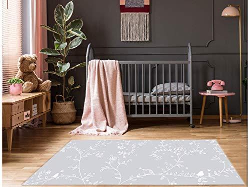 Oedim Grauer Zweigendruck Teppichboden PVC Kinderzimmer | 95 cm x 95 cm | PVC Teppich | Vinylböden | Heimtextilien | Dekorationsgegenstände Zimmer